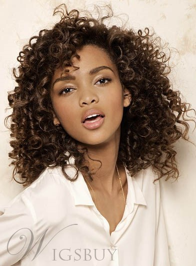 New Arrival African American Chic Curly Hairstyle 100% Human Hair 18 Inches Lace Wig