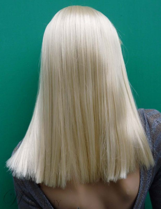 Custom Lady Gaga Hairstyle Silky Straight Wig 16 Inches with Full Bang