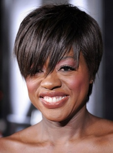 Fashionable Viola Davis Short Straight Black 100% Human Hair Wig