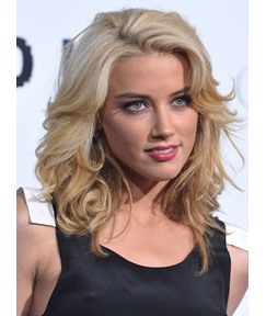 Polished Celebrity Hairstyle Medium Curly Blonde 100% Human Hair 16 Inches Lace Wig
