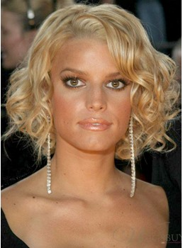 Custom Jessica Simpson Short Bob Hairstyle Curly Full Lace Wig 100% Human Hair 10 Inches
