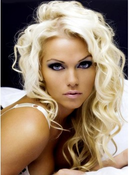Long Curly Blonde 100% Human Hair Full Lace Wig 16 Inches