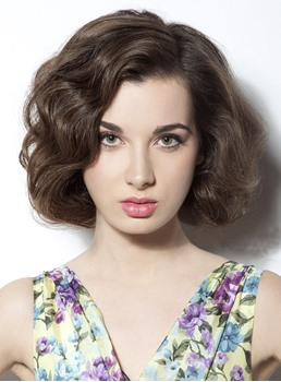 Latest Trend Sweet Top Quality Bob Hairstyle 100% Human Hair Full Lace Wig 8 Inches Wavy