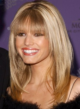 Fashion Custom Jessica Simpson Hairstyle Long Straight Blonde 100% Human Hair 16 Inches Wig