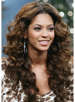 Sexy Custom Beyonce Hairstyle Long Curly Brown 100% Human Hair Lace Wig 24 Inches