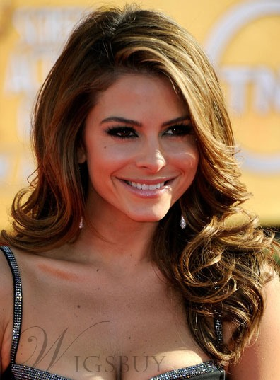 Custom Fashion Maria Menounos Long Hairstyle Body Curly 100% Human Hair 18 Inches Full Lace Wig 10631745