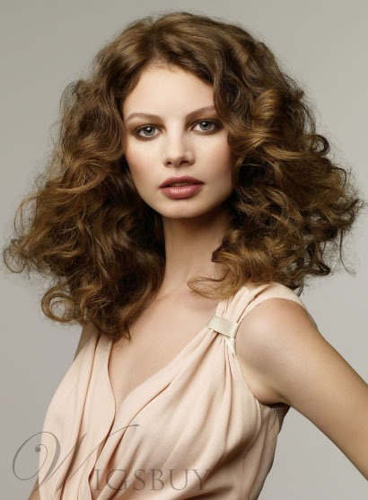 High Quality New Hairstyle Long Curly 100% Real Human Hair Full Lace Wig 16 Inches 10633156