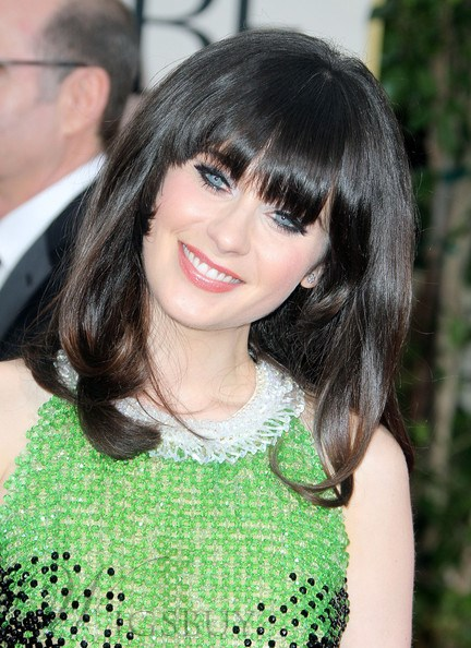 Fabulous Amazing Zooey Deschanel Hairstyle Long Straight 100% Human Hair Wig 16 Inches