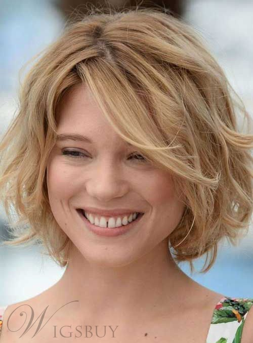 Fashion Fluffy Short Bob Hairstyle 100% Human Hair Wavy Lace Front Wig 10 Inches