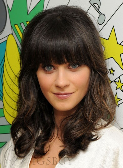 Sweet Zooey Deschanel Hairstyle Long Curly 100% Real Human Hair Wig 14 Inches