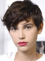Messy Hairstyle Youthful Cute Short Straight 100% Human Hair Top Quality Full Lace Wig