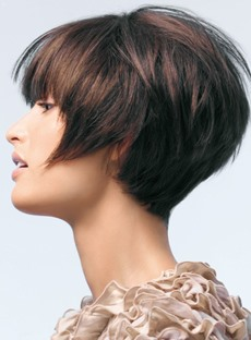 Top Quality Chic Straight Cool Short 100% Human Hair Wig with Layered Cut