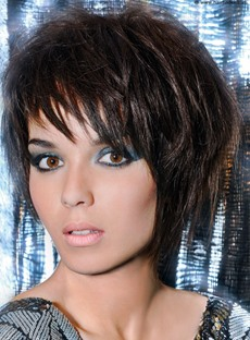 Fashionable Hot Hairstyle Short Layered Straight 100% Indian Human Hair Wig