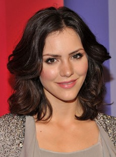 Graceful Custom Katharine Mcphee Hairstyle Medium Wavy 100% Human Hair Lace Wig 14 Inches