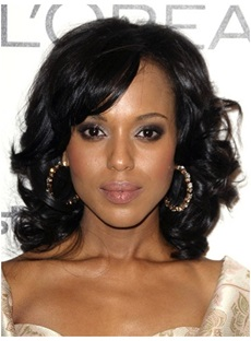 Sexy Graceful Inexpensive Short Curly Glueless Lace Front Wig 100% Human Hair 12 Inches