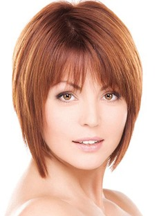 Short Layered Cut Straight 100% Human Hair Capless Wigs 8 Inches