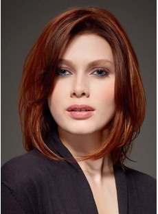 Glamour Polished Shoulder Length Straight Red Bob Hairstyle Lace Wig 100% Human Hair 10 Inches