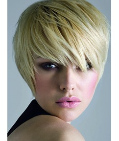 Unisex Cool Short Layered Cut Blonde 100% Human Hair Custom Wig