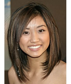 Long Straight Bob Hairstyle 100% Human Hair Mixed Color Lace Wig 14 Inches