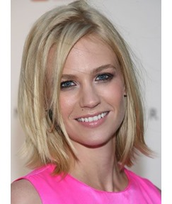 Custom January Jones Shoulder Length Layered Straight Blonde 100% Human Hair Lace Wig 10 Inches