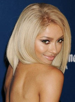 Attractive Kat Graham Medium Bob Hairstyle Straight 100% Human Hair Lace Wig 14 Inches