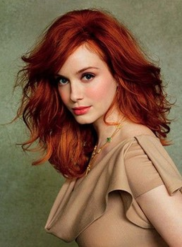 Glamorous Celebrity Hairstyle Long Loose Wavy Red 100% Human Hair Lace Wig 14 Inches