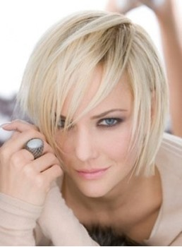 Lovely Charming Short Straight Blonde 100% Human Hair Wig