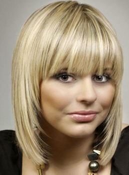 Cute Smart Medium Layered Straight Blonde 100% Human Hair Wig 12 Inches