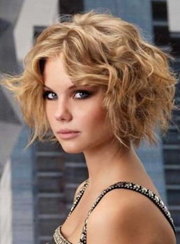 Sweet Amazing Short Wavy Blonde Bob Custom Lace Wig 100% Human Hair 8 Inches