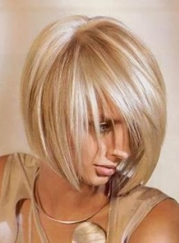 Soft Layered Cut Fashion Short Straight Blonde 100% Human Hair Bob Wig 10 Inches