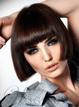 Boutique Cute Short Bob Hairstyle 100% Human Hair Wig Straight