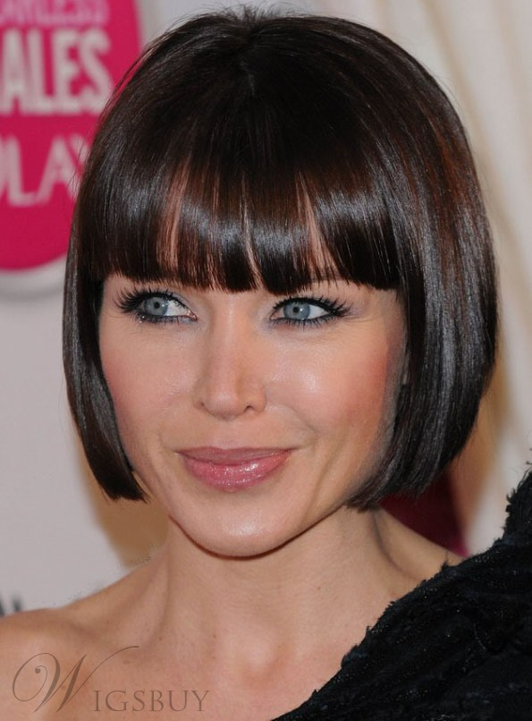 Pretty Celebrity Bob Hairstyle Short Straight Soft 100% Human Hair Wig 8 Inches