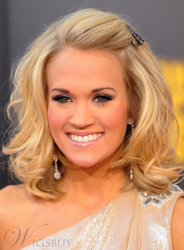 Fashion Carrie Underwood Hairstyle Medium Loose Wavy Blonde 100% Human Hair Full Lace Wig 12 Inches