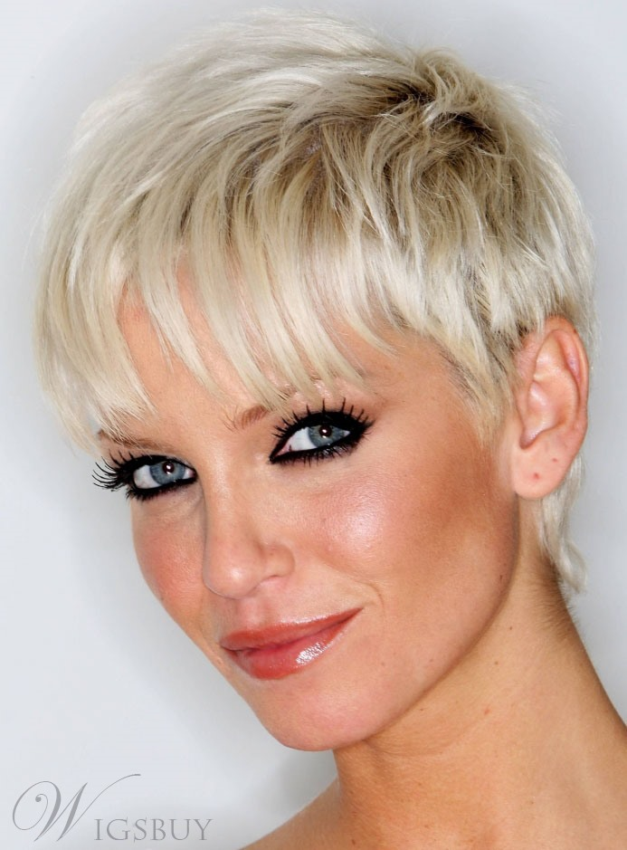 Pleasant Celebrity Pixie Cut Super Short Straight 100 Human Hair Mono Top Hairstyle Inspiration Daily Dogsangcom