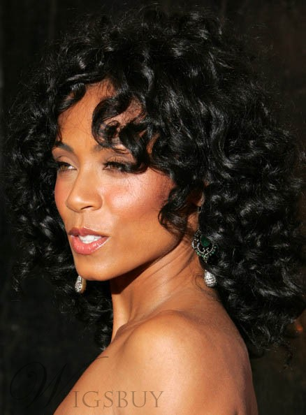Graceful Fabulous Jada Pinkett Smith Long Curly Black 100% Human Hair Full Lace Wig 16 Inches