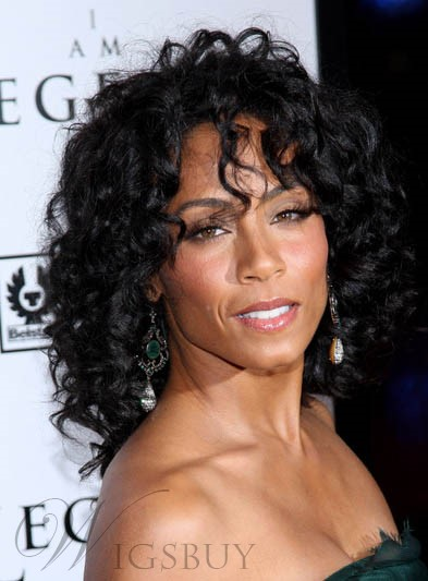 Graceful favoloso Jada Pinkett Smith ricci lunghi nero 100% capello umano pieno pizzo parrucca 16 pollici