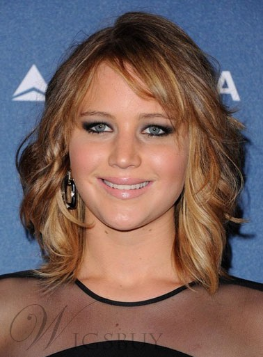 Custom Jennifer Lawrence Bob Hairstyle Mixed Color 100% Human Hair Lace Wig 12 Inches