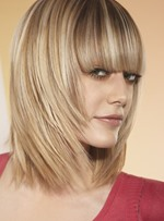 Lovely Youthful New Arrival Medium Layered Straight 100% Human Hair Wig with Full Bang 12 Inches
