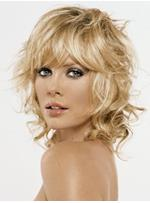 Attractive Fashionable Boutique Medium Curly Mono Top Wig 100% Human Hair 12 Inches