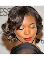 Attractive African American Celebrity Prom Hairstyle Short Curly 100% Human Hair Lace Wig 10 Inches