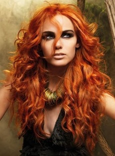 New Long Hairstyle Fashion Curly Orange-red 100% Human Hair Custom Lace Front Wig 24 Inches