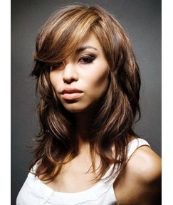 Medium Loose Wavy Mixed Color Human Hair Wigs 14 Inches