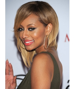 Keri Hilson Beautiful Smooth Bob Hairstyle Medium Straight Lace Front Wig 100% Human Hair 12 Inches