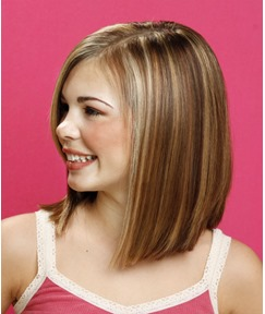 Boutique Lovely Brown with Blonde Medium Straight Lace Front Wig 100% Human Hair 12 Inches