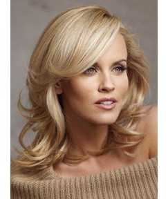 Graceful Deluxe Shoulder Length Medium Curly Blonde 100% Indian Human Hair Lace Front Wig 14 Inches