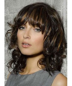 Sweet Bob Hairstyle Shoulder Length 14 Inches Curly 100% Human Hair Wig with Highlights