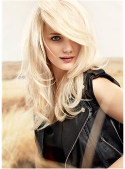 Boutique Charming New Hairstyle Long Loose Wavy Blonde 100% Human Hair Full Lace Wig 18 Inches