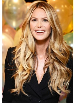 Attractive Smiling Long Loose Wavy Highlight 100% Human Hair Full Lace Wig 24 Inches