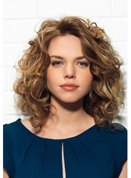 Personality Loose Medium Curly Glueless Lace Front Wig 100% Human Hair 14 Inches