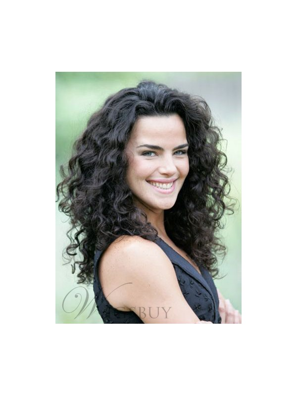 Beautiful Attractive 150% Heavy Hair Density Long Curly Black 100% Indian Human Hair Lace Wig 20 Inches